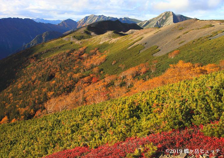 西面の蝶稜線からの常念岳、大天井岳