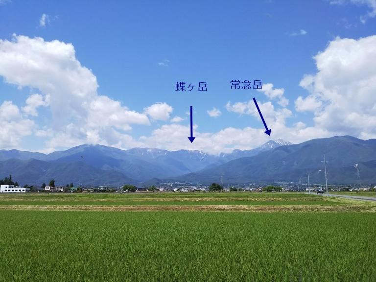 安曇野から見た蝶ヶ岳・常念岳