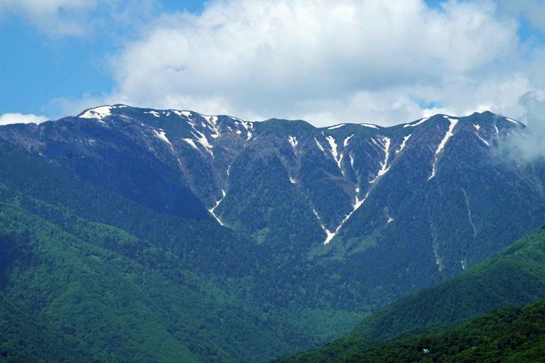 蝶ヶ岳をズームアップ